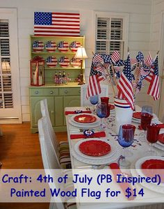 DIY Pottery Barn American Flag Knock-off tutorial from Between naps on the porch.plus fab July decor photos 4th Of July Celebration, 4th Of July Party, Fourth Of July, 4th Of July Decorations, Table Decorations, Centerpieces, Wood Flag, Pottery Barn Inspired, Patriotic Party