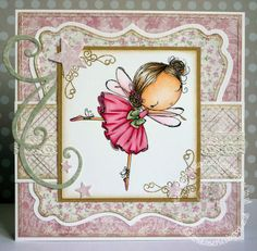Pink and girly handmade card featuring an All Dressed Up digi stamp of a fairy ballerina
