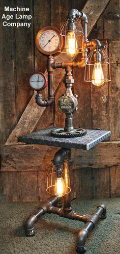 Steampunk Diamond Plate Industrial Lamp
