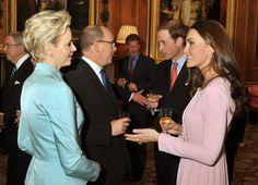 Prince Albert II en Princes Charlene uit  Monaco - Jubileumlunch Queen Elisabeth Vrijdag 18 Mei 2012