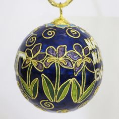 Officially licensed Kappa Kappa Gamma, handcrafted, 24k gold plated cloisonne ornament - www.KittyKeller.com
