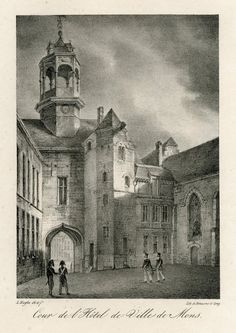 """Lithogravure """"Cour de l'Hôtel de Ville de Mons"""" faisant partie de la Collection historique des principales vues des Pays-Bas, dédiée au Roi, imprimée par Josué Casterman. Cette vue de la Cour de l'Hôtel de Ville de Mons est signée par l'artiste tournaisien Louis Haghe (ou Hagué, Tournai, 1806 - Stockwell, 1886), élève du chevalier de La Barrière."""