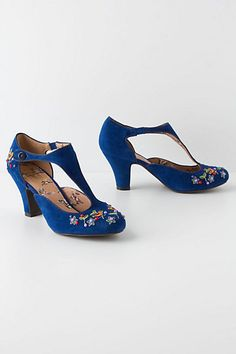Virtual shoe shopping: OMG even the lining is precious!!  Songbird Embroidered T-Straps #anthropologie