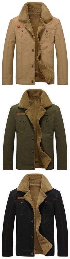 US$49.89 Plus Size Winter British Style Outdoor Thicken Warm Washed Turn-Down Collar Jacket for Men#winterfashiontrends #jacket