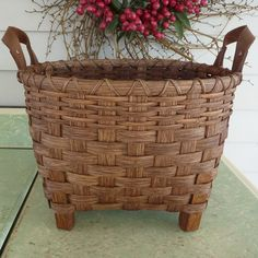 "Footed Storage Basket - 1"" wooden legs"