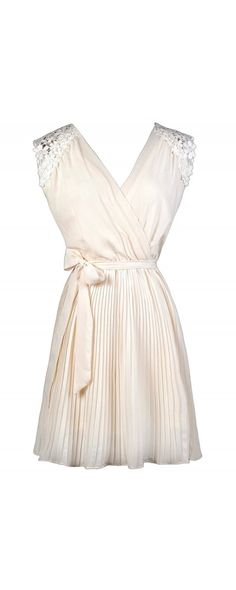 REHEARSAL DRESS FOR JESS? Lily Boutique Danielle Pleated Chiffon Crochet Shoulder Dress in Ivory, $38