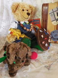 Vintage Vignette With Wee Froggy German by RosehavenAntiques, Froggy is not one of my original creations. He is an orphaned bear who we have cared for and given friends and a wardrobe of his own. He is currently up for adoption and looking for a new family.