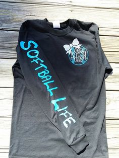 Softball Life Monogram T-Shirt by VinylByTaylor on Etsy… Softball Crafts, Softball Quotes, Softball Shirts, Softball Pictures, Softball Players, Girls Softball, Fastpitch Softball, Baseball Mom, Sports Shirts