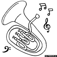 Free Musical Instruments Coloring Pages. Color in this picture of a Euphonium and others with our library of online coloring pages. Music Crafts, Bible Crafts, Online Coloring Pages, Coloring Books, Bambi Disney, Canvas Collage, Unicorn Coloring Pages, Music Symbols, Music Worksheets