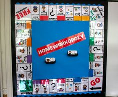 "This is called ""homeworkopoly."" It's basically a game system to get students involved and motivated to do their homework.  For example, each day students can roll the dice and move their piece if they have completed their homework. After so many  turns around the board, they receive a reward (candy, book, homework pass, etc.)"