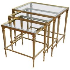 Italian Brass And Mirrored Glass Trio Of Nesting Tables, Circa 1950 Italy