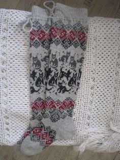 Wool socks with cats by WoolMagicShop long socks. Wool socks with cats by WoolMagicShop Knitted Christmas Stocking Patterns, Knitted Christmas Stockings, Christmas Knitting, Fair Isle Knitting, Knitting Socks, Hand Knitting, Wool Socks, Men's Socks, Knitted Cat