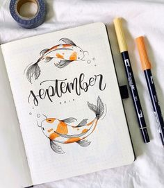 some September inspiration for anyone setting up a cover page now, by ☺️✨ thanks so much for everyone! // Use the tag… Bullet Journal Titles, Bullet Journal Cover Page, Bullet Journal Notebook, Bullet Journal Aesthetic, Bullet Journal School, Bullet Journal Spread, Bullet Journal Inspiration, Bullet Journal September Cover, Bellet Journal
