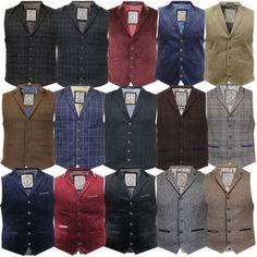 Mens Waistcoat Wool Mix Cord Cavani Formal Vest Herringbone Tweed Check  Party  Cavani 8c04c156792