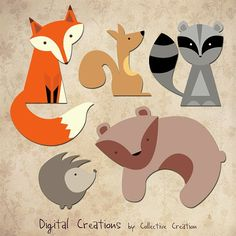 woodland winter animal graphics | Woodland Animals Digital Clip Art - Fox, Squirrel, Raccoon, Hedgehog ...