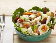 This is our Chicken Caesar Salad Bowl, it's got all the classic Caesar flavours, but we've put our own twist on the dressing- its gut-boosting, and you'll love it! – I Quit Sugar Clean Eating Recipes, Healthy Eating, Cooking Recipes, Healthy Recipes, Salad Recipes, Delicious Recipes, Healthy Foods, Chicken Caesar Salad, Dairy Free Eggs