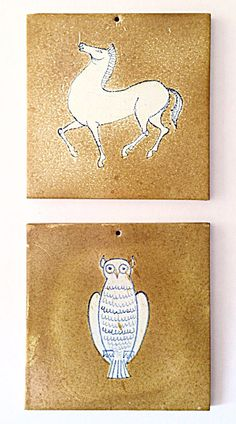 Alfaraz Art Tile Set: 2 Vintage Pottery Tiles, 1950s 1960s, Miguel Durán-Lóriga, Midcentury Spanish pottery, Made in Spain, Spanish Modernis