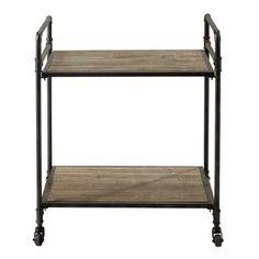 Cassetta a rotelle in metallo e legno L 64 cm