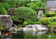 Beautiful #fountain #garden with Japanese water elements and Japanese Koi fish