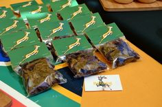 Biltong Packets with Springbok Rugby Bag Toppers Football Birthday, Sports Birthday, Sports Party, Birthday Cup, Birthday Party For Teens, Rugby Cake, Party In A Box, Biltong, Bag Toppers