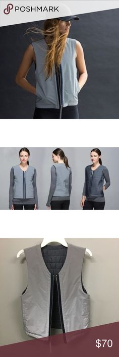 Lululemon Light & Bright Reversible Vest Reflect Lululemon Light & Bright Reversible Reflective Vest Size Small Grey White Full Zip and Full Zip Pockets either way you wear it  - true to size -like new -100% polyester  Retails for $148 lululemon athletica Jackets & Coats Vests
