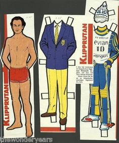 Ingemar Stenmark Skiier Skiing Vintage Paper Doll and Clothes from Sweden