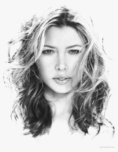 Pencil Illustration of Jessica Biel by Christopher Farlow, via Behance