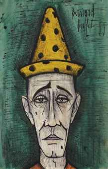 Bernard BUFFET/clown. panted in 1999, the very year he put an end to his life