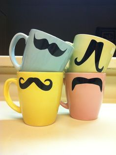 Vinyl Mustache Mugs ∙ Creation by Pam ^_^ on Cut Out + Keep