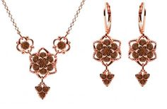 24K Pink Gold over 925 Sterling Silver Necklace and Earrings Set Amazingly Designed by Lucia Costin with Brown Swarovski Crystals and 4 Petal Flowers Garnished with Fancy Charms and Twisted Lines *** Read more  at the image link.