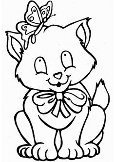 Cute Cat And Butterfly Coloring Pages