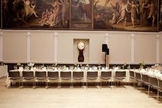 A Horseshoe shaped table arrangement in The Great Room RSA House  London Wedding