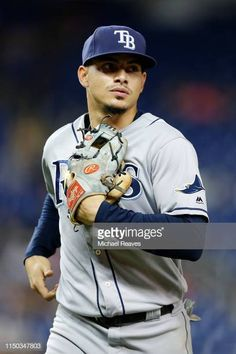 Willy Adames of the Tampa Bay Rays in action against the Miami Marlins at Marlins Park on May 14 2019 in Miami Florida Rays Baseball, Baseball Cards, Golf Stores, Miami Marlins, Tampa Bay Rays, Miami Florida, Motorcycle Jacket, Sexy Men, Eye Candy