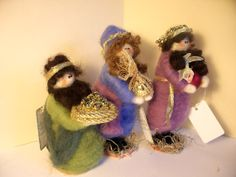 Wool+Wrapped+Three+Wisemen+Nativity+Figures+by+WhimsicalWoolies,+$75.00