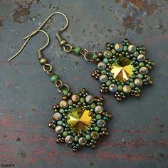 Beaded earring. Swarovski Rivoli + Rulla beads + TOHO beads