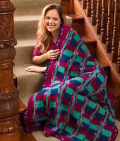 """Red Heart Throw/ make in one piece - hooray, no sewing! / 48"""" x 54.5"""" / FREE CROCHET pattern"""