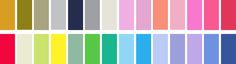 If you are a LIGHT SPRING, your best colours are: (L-R) Camel, khaki, pewter, light grey, blue charcoal, taupe, stone, warm pastel pink, powder pink, clear salmon, coral, rose pink, warm pink, watermelon, clear red, buff, pastel yellow-green, bright golden yellow, light moss, bright yellow-green, emerald turquoise, light aqua, clear aqua, powder blue, periwinkle, violet, medium blue, light navy.