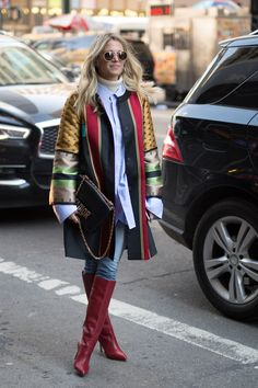 NEW YORK, NY - FEBRUARY 14:  Helena Bordon is seen attending Moncler Grenoble during New York Fashion Week wearing a multi-color coat with red boots on February 14, 2017 in New York City.  (Photo by Matthew Sperzel/Getty Images) via @AOL_Lifestyle Read more: https://www.aol.com/article/lifestyle/2017/02/15/nyfw-street-style-day-6-new-york-fashion-week/21714646/?a_dgi=aolshare_pinterest#fullscreen