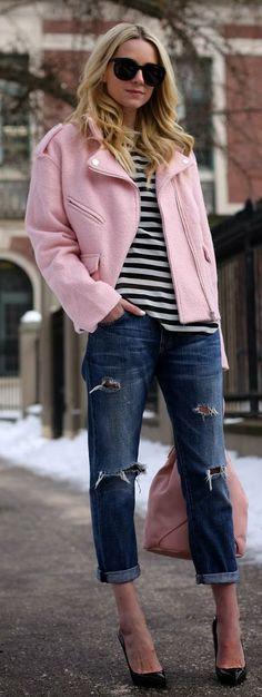 Street style fashion / karen cox. Sister Jane Pink Biker Jacket by Atlantic - Pacific