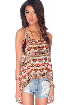 Valley Layered Tank Top in Camel and Red $42 at www.tobi.com