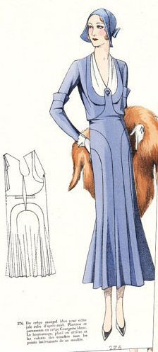 1930s fashion plate- beautiful structured bodice in blue and white