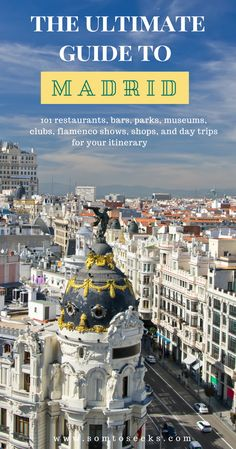 Madrid, the beautiful Spanish capital, has something for everyone. Find out about 101 of the best things to do in Madrid - restaurants, rooftop bars, parks, flamenco shows, day trips, and much more! The best part is that all the activities are either free or super affordable!