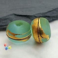 Lampwork Beads Cool Oriental Blue Pair by GlitteringprizeGlass for jewellery making.  #glitteringprizeglass #lampwork