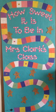 Candy Land Teacher Door Decoration for a sweet teacher!  Candy cane font printed in pink.  Squares made the game board and Candy Land stickers from JoAnns teacher section.  Also added each student's name up the game board or on a gingerbread punch out to personalize.