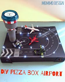 pizza box recycled in a toy airport Pizzakarton in einem Spielzeug Flughafen recycelt Kids Crafts, Projects For Kids, Diy For Kids, Diy And Crafts, Craft Projects, Pizza Box Crafts, Diys, Cardboard Crafts, Diy Toys