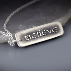 Etched Silver Believe Necklace by Lisa Hopkins Design