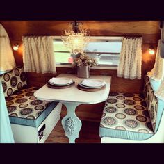 The dinette area in  vintage Scotty travel trailer.