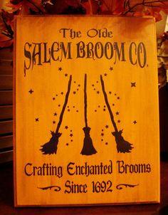 Olde Salem Broom Company Wood Sign Plaque Halloween Witches Decor Prim | eBay