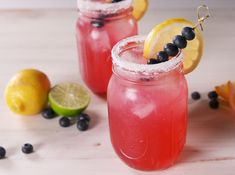 Beat The Heat With Blueberry Lemonade Margaritas Blueberry Margarita, Blueberry Syrup, Blueberry Lemonade, Blueberry Recipes, Fruit Drinks, Yummy Drinks, Alcoholic Drinks, Beverages, Drinks Alcohol