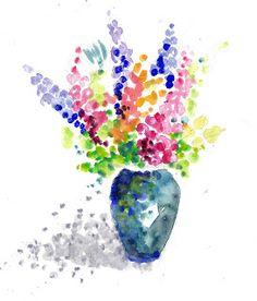Monique CAFFET: Pointillisme : Exemples réalisés avec des cotons tige et de l'aquarelle pour l'école primaire